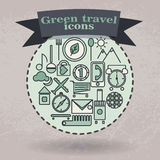 Set green icons for travel Royalty Free Stock Photos
