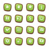 Set of 16 green jelly icons in wooden frames isolated on white background for game user interface. Mobile app vector elements temp. Late in cartoon style stock illustration