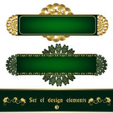 Set green label with gold filigree ornament Royalty Free Stock Images