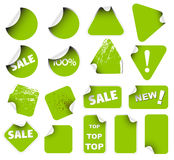Set of green labels Stock Photography