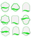Set of green labels Stock Images