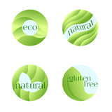 Set of Green Labels for Fresh,Vegan,Eco,Organic,Natural Products. Vector Design  on White Background. Royalty Free Stock Photos
