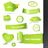 Set of green labels, stickers. Stock Photography