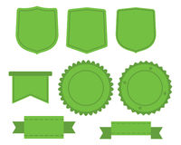 Set of green labels Stock Photos