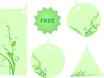 Set of green labels with swirl leaves Royalty Free Stock Photos