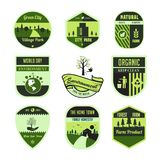 Set of green ,leaf,environment,world day, badge or emblem in isolated vector royalty free illustration