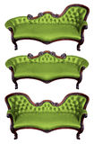 Set of green leather armchair isolated Stock Image