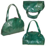 Set of green leather handbags isolated Royalty Free Stock Image