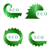 Set Green Logo Elements Isolated on White.  Ecological Templates for Corporate Logotypes. Royalty Free Stock Images