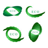 Set Green Logo Elements Isolated on White. Rounded Ecological Templates for Corporate Logotypes Stock Photography