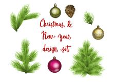 Set of green lush spruce branches and decoration elements. For Christmas and New Year disign. Isolated on white  illustratio. Set of green lush spruce branches Stock Photos