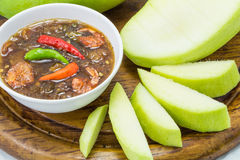 Set of green mangoes with Sweet fish sauce Stock Image