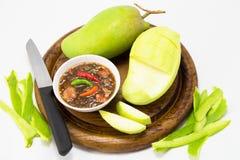 Set of green mangoes with Sweet fish sauce Stock Photos