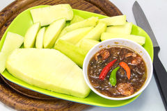 Set of green mangoes with Sweet fish sauce Royalty Free Stock Image