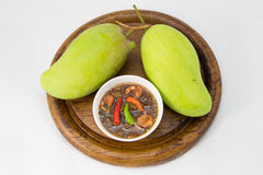 Set of green mangoes with Sweet fish sauce Stock Photography