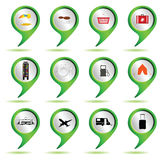 Set of green map pointer with travel sign Royalty Free Stock Photo