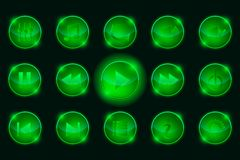 Set of Green Media Player Buttons Stock Image