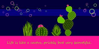 Set of Green Neon Cactus and Succulent stock photography