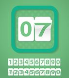 Set of green number cards. Vector Illustration Royalty Free Stock Photography