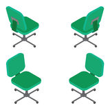 Set green office chair on white background. Flat 3d isometric  illustration. For infographics and design games Royalty Free Stock Image