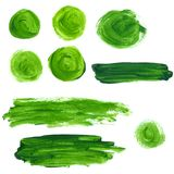 Set of green oil paint splotches and strokes. Royalty Free Stock Images