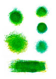 Set of green oil paint splotches and strokes. Artistic design elements Royalty Free Stock Image