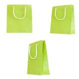 Set green paper bag Stock Image
