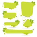 Set of green paper origami banners with leaves. Template for bio products, sales, web sites and labels. Place for text  illu Stock Image