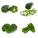 Set of green peppers Stock Photo