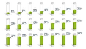 Set of green percentage charts for infographics, 0 5 10 15 20 25 30 35 40 45 50 55 60 65 70 75 80 85 90 95 100 percent. Vector illustration royalty free illustration