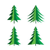 Set of Green Pines Trees. Vector Icon. Stock Photos