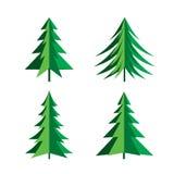 Set of Green Pines Trees. Vector Icon. Stock Photos