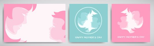 Set of green and pink backgrounds or greeting cards for mother`s day. Women and baby stylized silhouettes, congratulation text. Vector illustration, all layers royalty free illustration