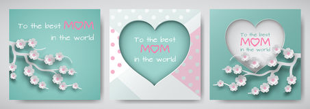 Set of green and pink greeting card for mother`s day with congratulations text, cuted heart decorated flowers, dotted background. Set of green and pink greeting royalty free illustration