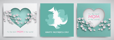 Set of green and pink greeting card for mother`s day. Women and baby silhouettes, сongratulations text, cuted heart with flowers Stock Images
