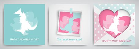 Set of green and pink greeting cards for mother`s day. Women and baby silhouettes, congratulation text, cuted heart Royalty Free Stock Photography