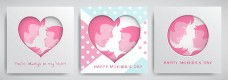 Set of green and pink greeting cards for mothers day. Women and baby silhouettes, congratulation text, cuted heart Stock Photography