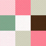Set of green - pink polka dot textures Stock Photography