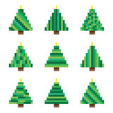 Set green pixel Christmas trees in vector Stock Photo