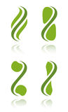Set of green plant icons Stock Photography