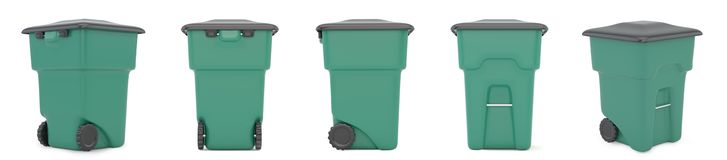 Set green plastic trash recycling container. 3d rendering.  Stock Photos