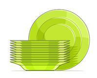 Set of green plates. Vector illustration isolated on background Royalty Free Stock Image