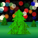 Set of Green Polygonal Trees. On Blurred Background. Green Pines Stock Image