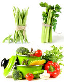 Set green pots full of vegetables Royalty Free Stock Photo