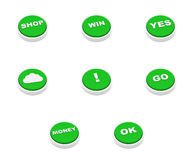 Set of Green push button Royalty Free Stock Photography
