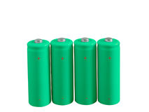 Set of green rechargeable eco batteries Royalty Free Stock Image