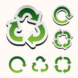 Set of green recycle arrow on white Royalty Free Stock Images