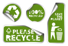 Set of green recycle labels Royalty Free Stock Images