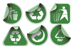 Set of green recycle labels royalty free illustration