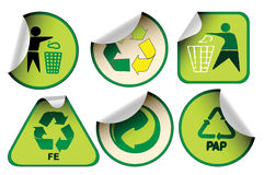 Set of green recycle labels Stock Photos